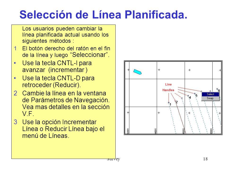 Selección de Línea Planificada.