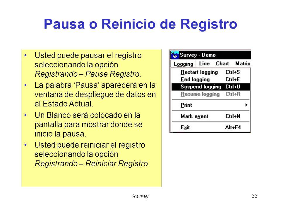 Pausa o Reinicio de Registro