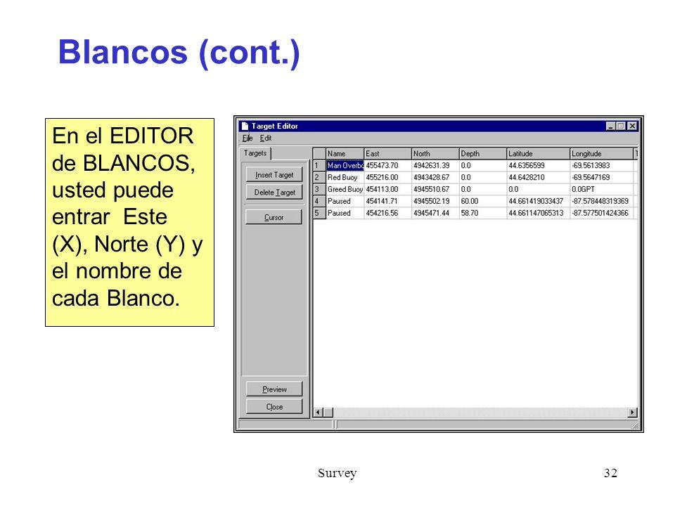 Blancos (cont.) En el EDITOR de BLANCOS, usted puede entrar Este (X), Norte (Y) y el nombre de cada Blanco.