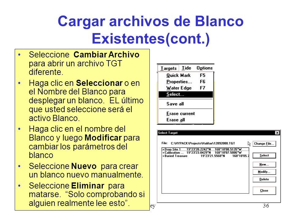 Cargar archivos de Blanco Existentes(cont.)