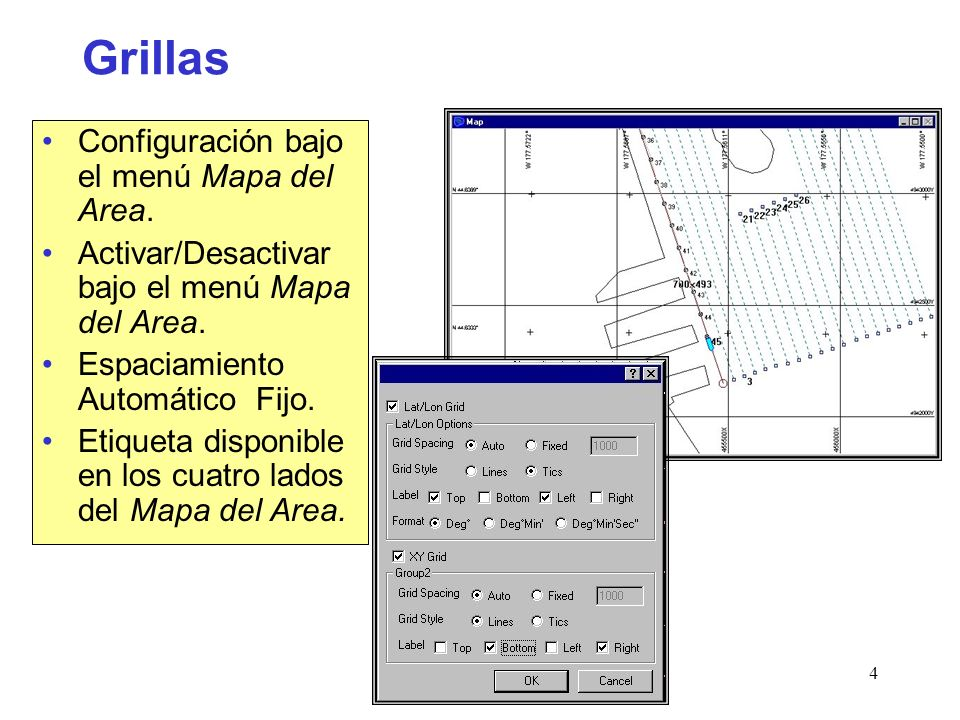 Grillas Configuración bajo el menú Mapa del Area.