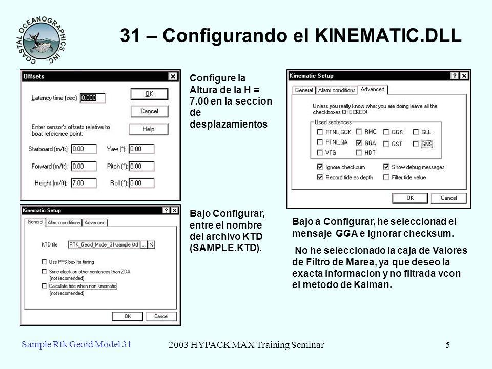 31 – Configurando el KINEMATIC.DLL