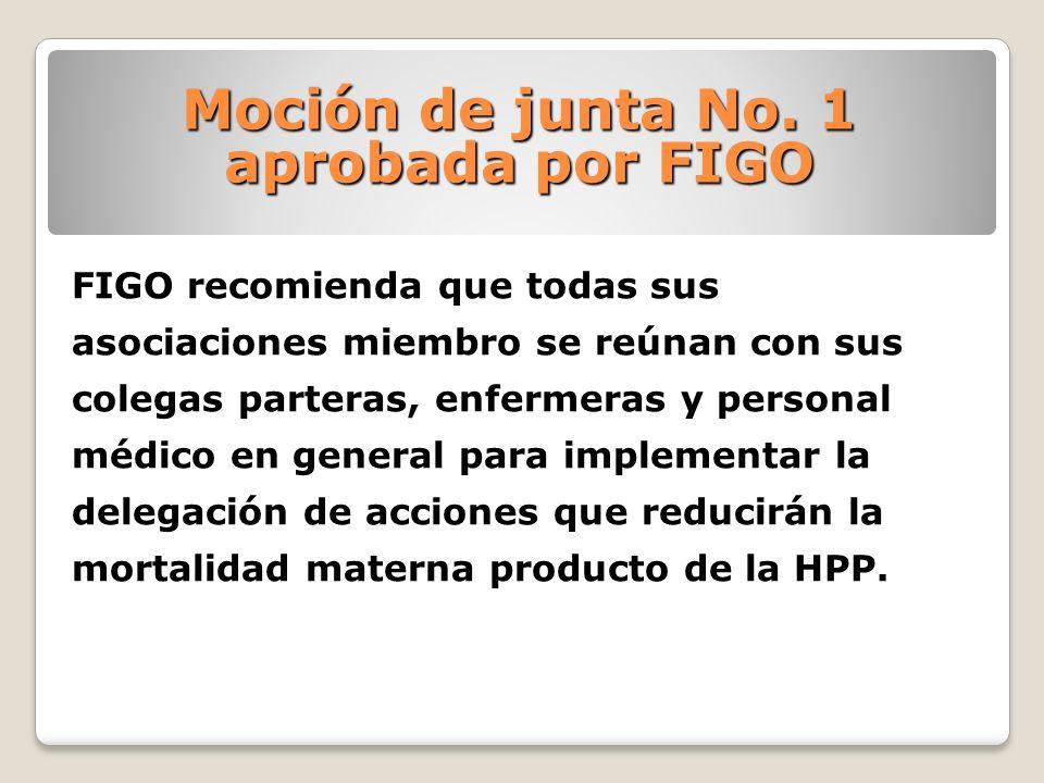 Moción de junta No. 1 aprobada por FIGO