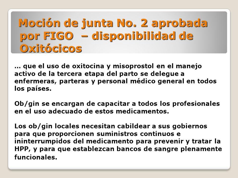 Moción de junta No. 2 aprobada por FIGO – disponibilidad de Oxitócicos