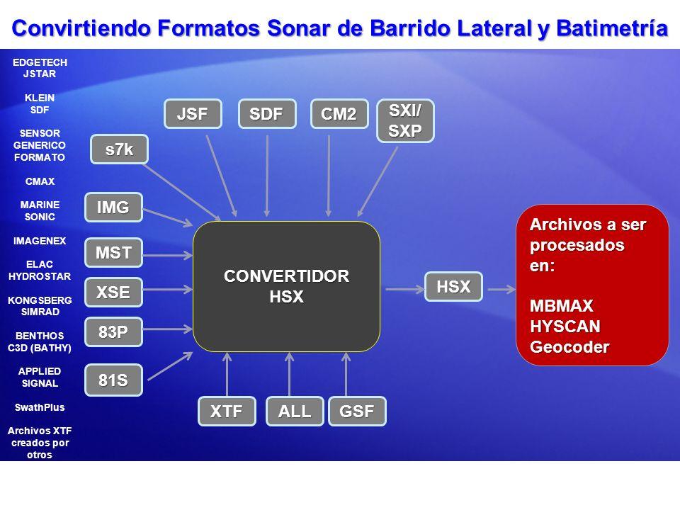 Convirtiendo Formatos Sonar de Barrido Lateral y Batimetría