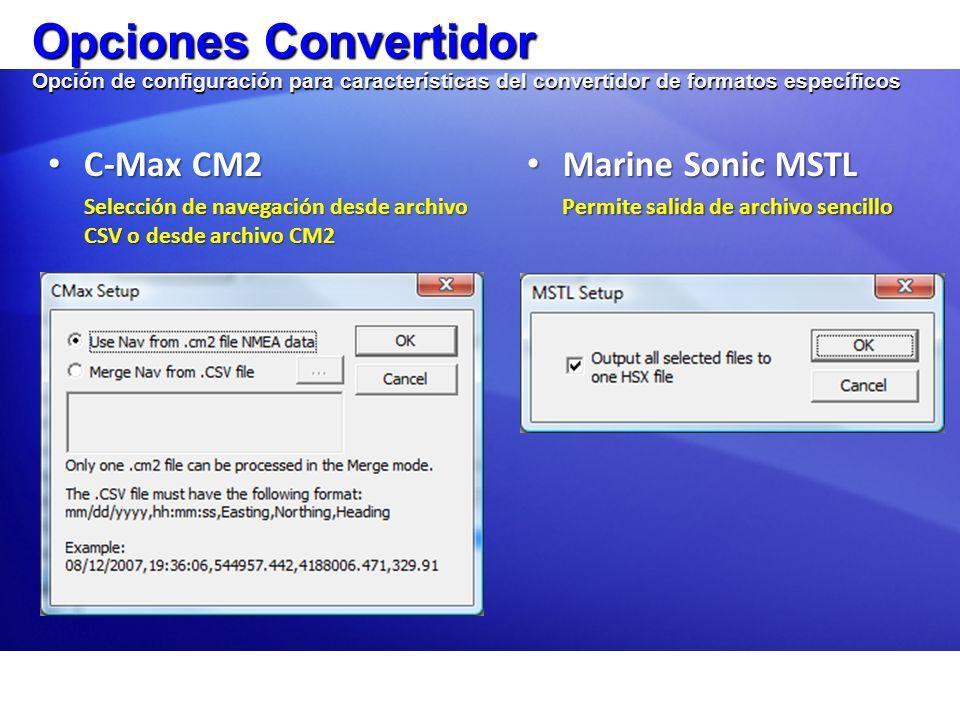 Opciones Convertidor Opción de configuración para características del convertidor de formatos específicos