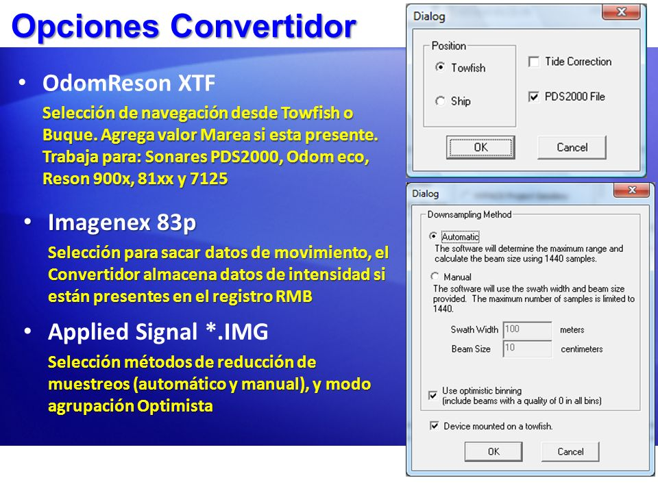 Opciones Convertidor OdomReson XTF Imagenex 83p Applied Signal *.IMG