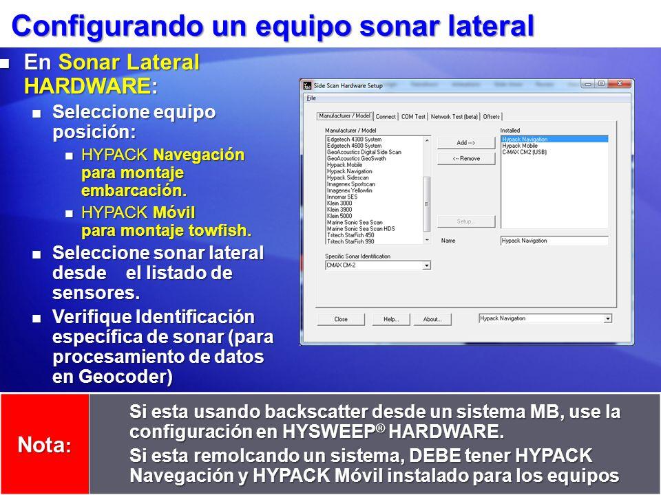 Configurando un equipo sonar lateral