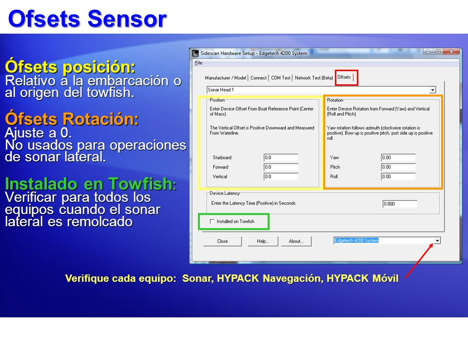 Ofsets Sensor Ófsets posición: Relativo a la embarcación o