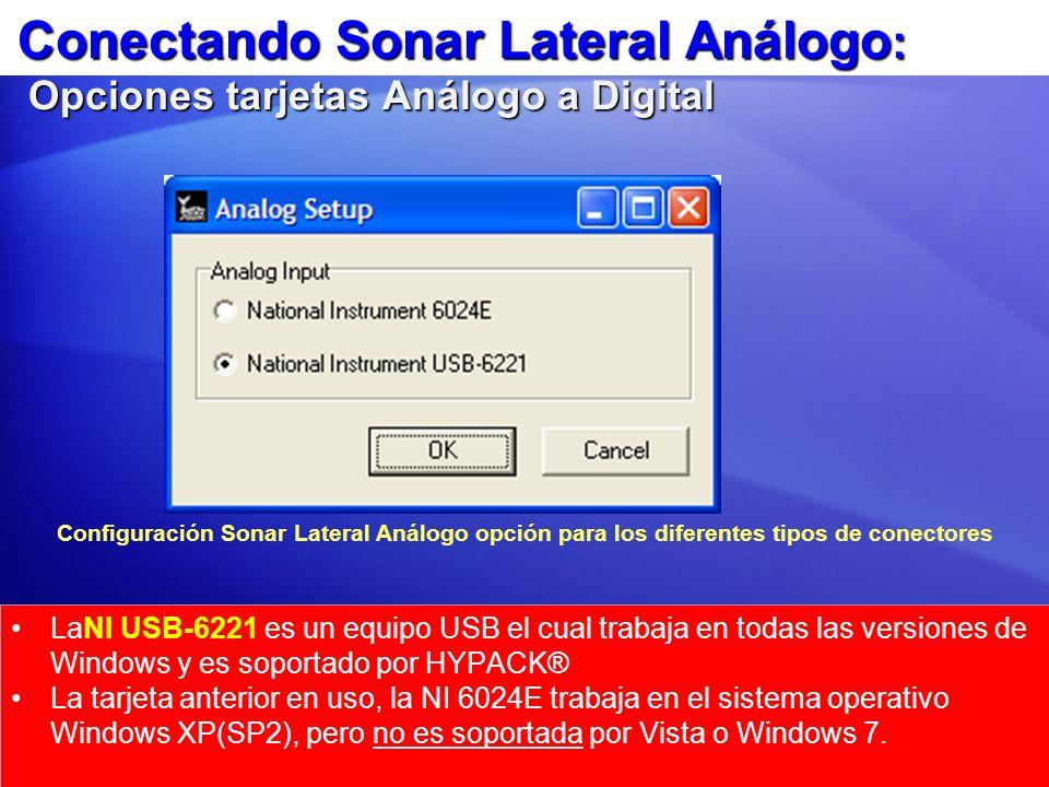 Conectando Sonar Lateral Análogo: Opciones tarjetas Análogo a Digital