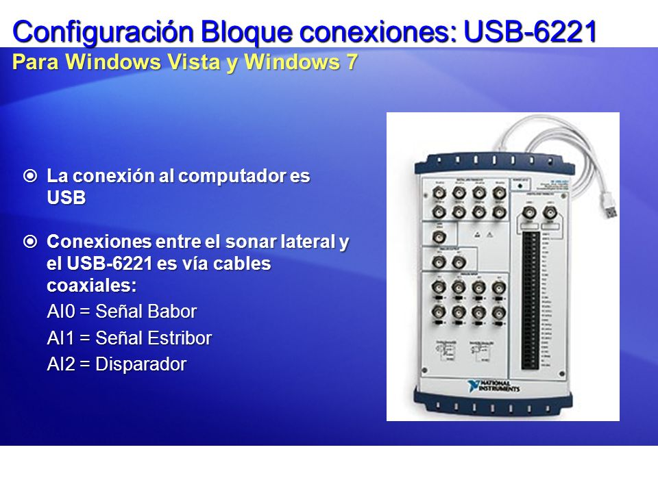 Configuración Bloque conexiones: USB-6221 Para Windows Vista y Windows 7