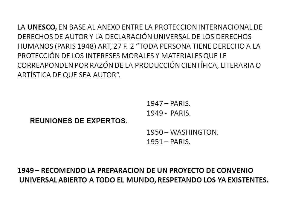 LA UNESCO, EN BASE AL ANEXO ENTRE LA PROTECCION INTERNACIONAL DE