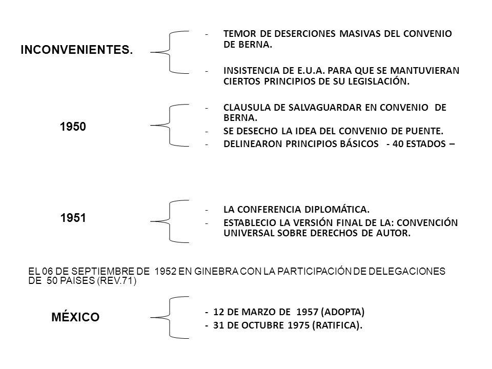 INCONVENIENTES. 1950 1951 MÉXICO