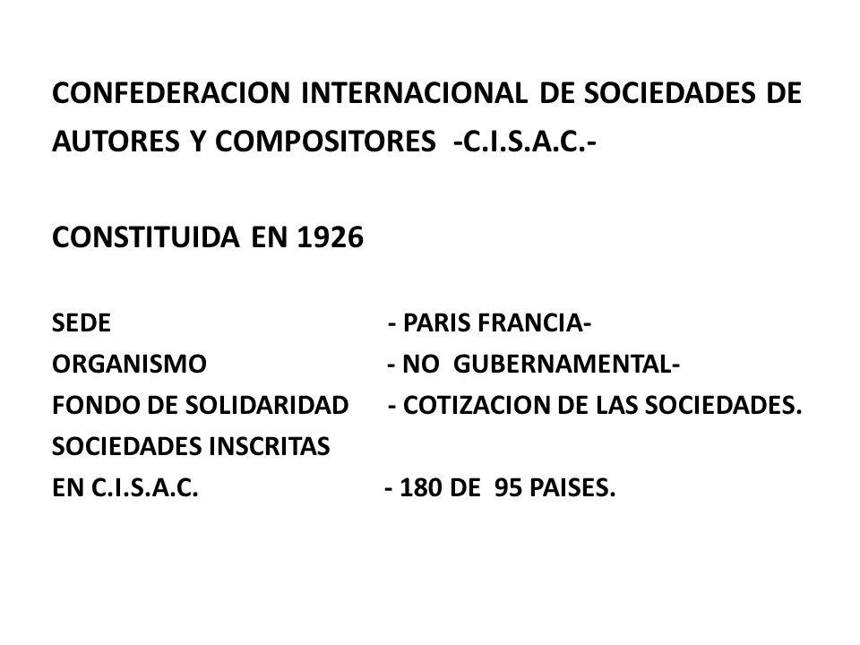 CONFEDERACION INTERNACIONAL DE SOCIEDADES DE