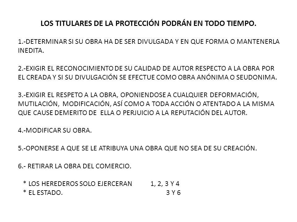 LOS TITULARES DE LA PROTECCIÓN PODRÁN EN TODO TIEMPO.