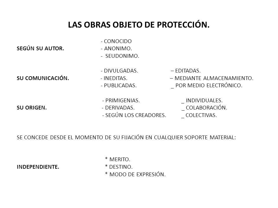 LAS OBRAS OBJETO DE PROTECCIÓN.