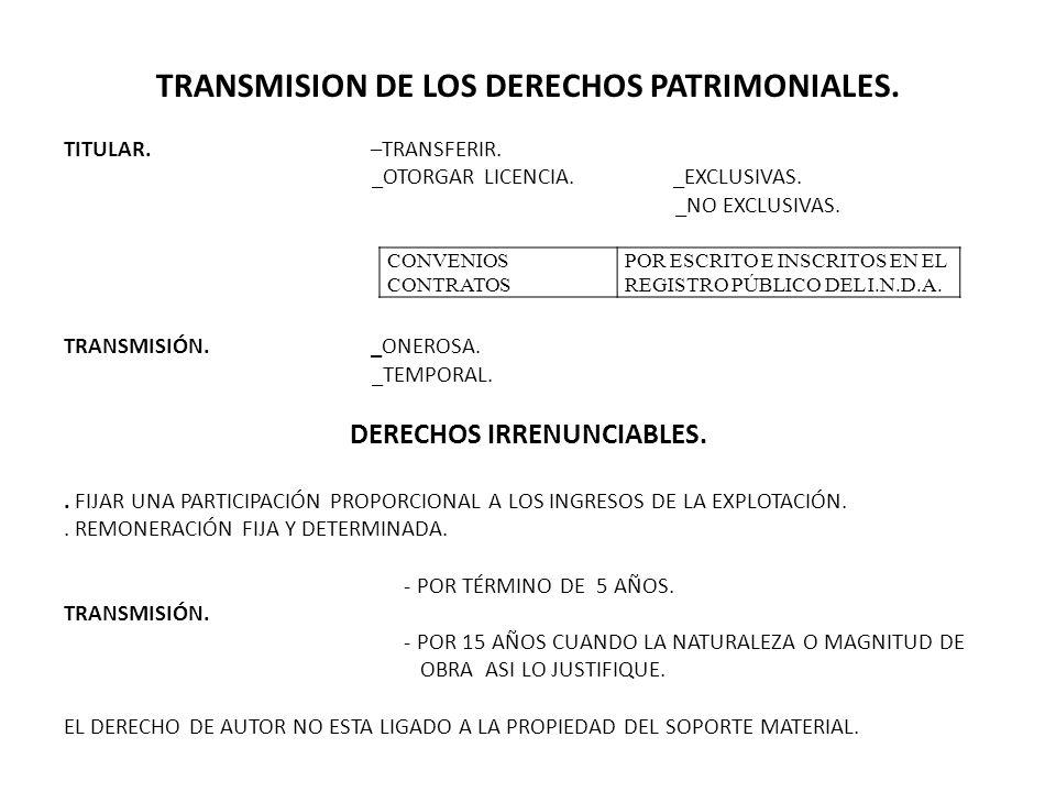TRANSMISION DE LOS DERECHOS PATRIMONIALES. DERECHOS IRRENUNCIABLES.