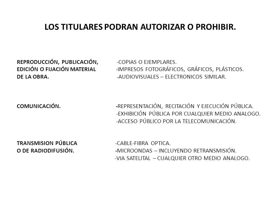 LOS TITULARES PODRAN AUTORIZAR O PROHIBIR.