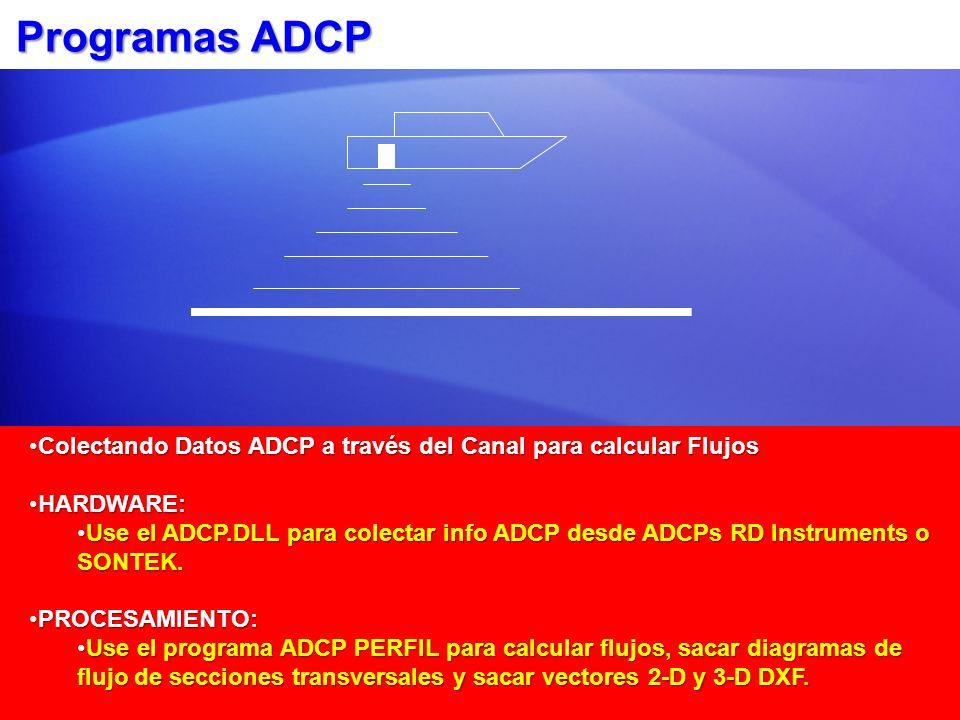 Programas ADCP Colectando Datos ADCP a través del Canal para calcular Flujos. HARDWARE: