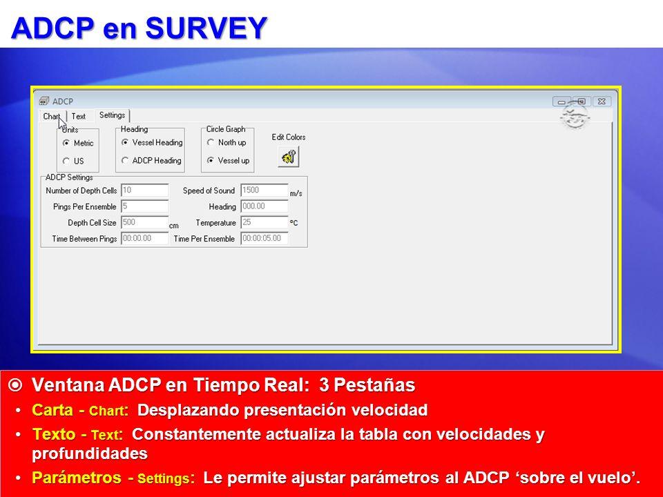 ADCP en SURVEY Ventana ADCP en Tiempo Real: 3 Pestañas
