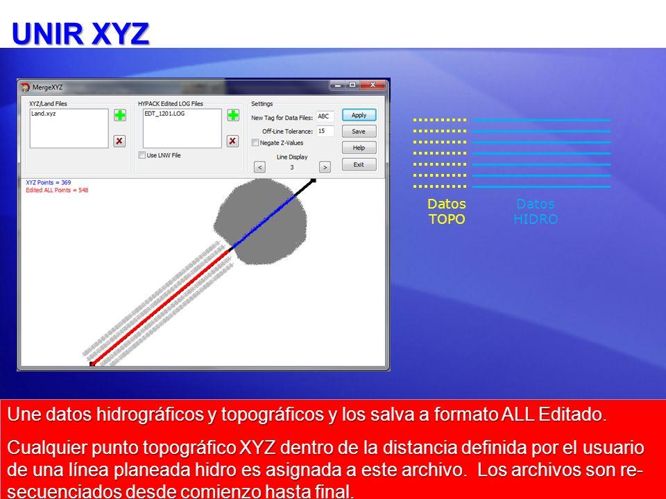 UNIR XYZ Datos TOPO. Datos HIDRO. Une datos hidrográficos y topográficos y los salva a formato ALL Editado.