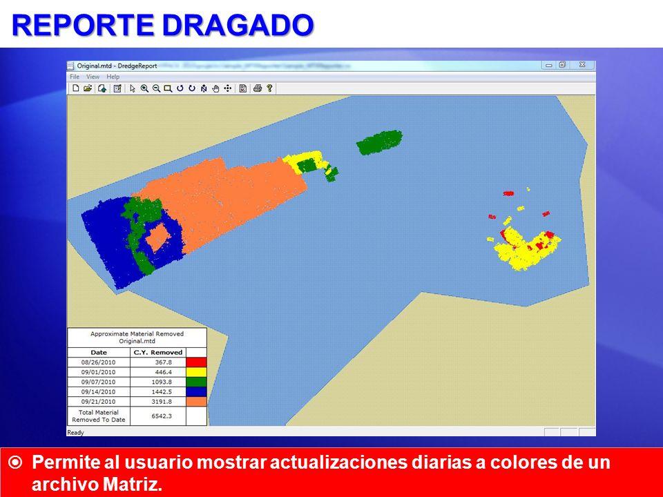 REPORTE DRAGADO Permite al usuario mostrar actualizaciones diarias a colores de un archivo Matriz.
