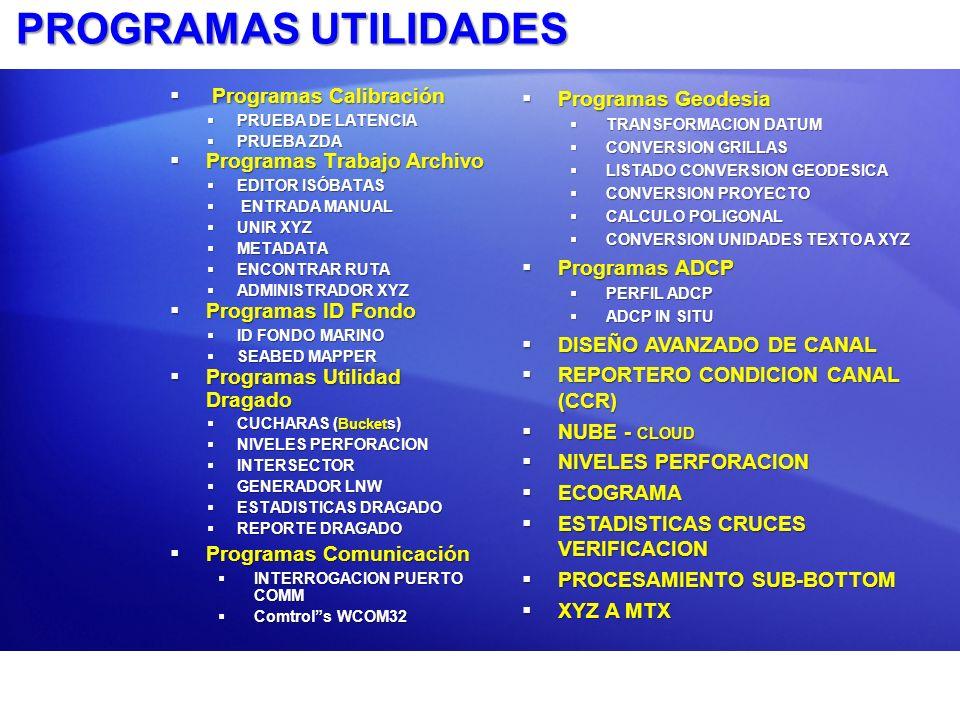 PROGRAMAS UTILIDADES Programas Calibración Programas Trabajo Archivo