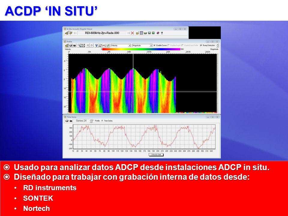 ACDP 'IN SITU' Usado para analizar datos ADCP desde instalaciones ADCP in situ. Diseñado para trabajar con grabación interna de datos desde: