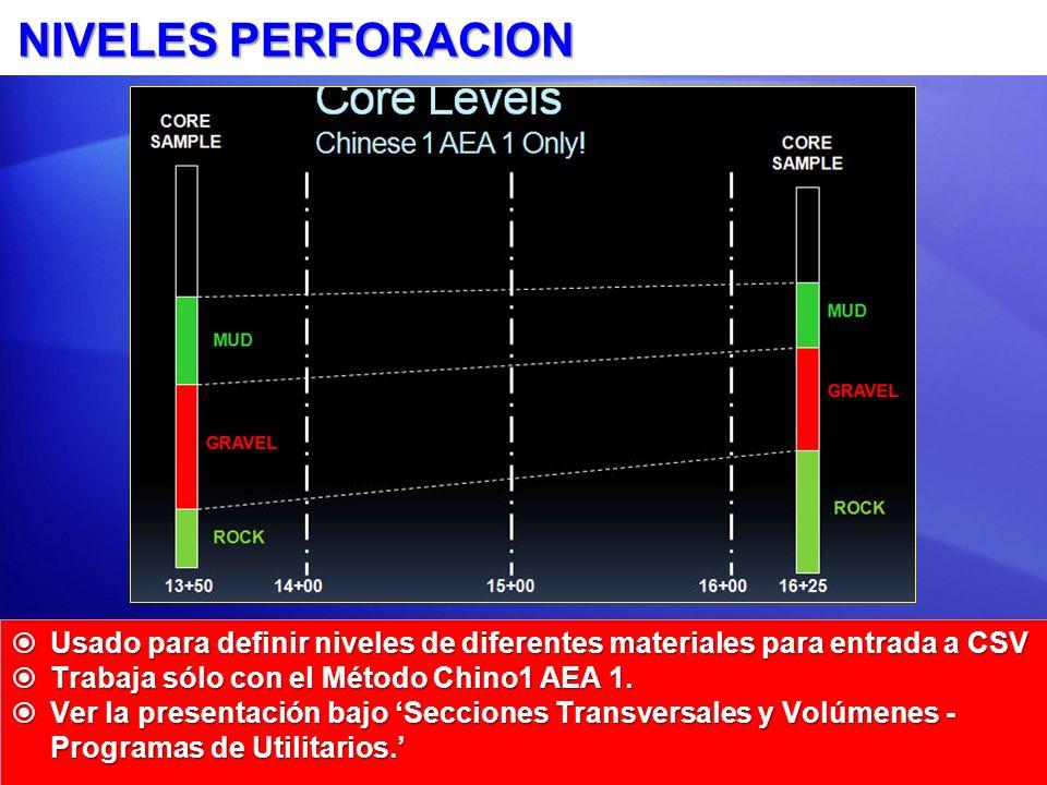 NIVELES PERFORACION Usado para definir niveles de diferentes materiales para entrada a CSV. Trabaja sólo con el Método Chino1 AEA 1.