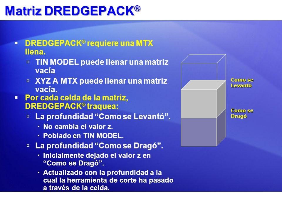 Matriz DREDGEPACK® DREDGEPACK® requiere una MTX llena.