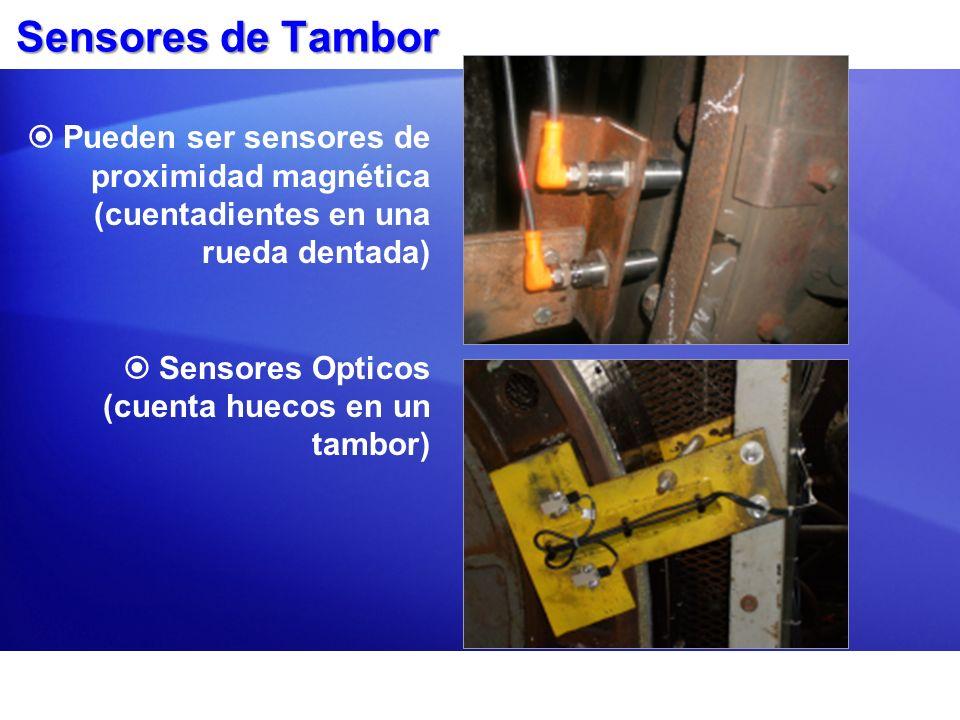 Sensores de TamborPueden ser sensores de proximidad magnética (cuentadientes en una rueda dentada) Sensores Opticos (cuenta huecos en un tambor)