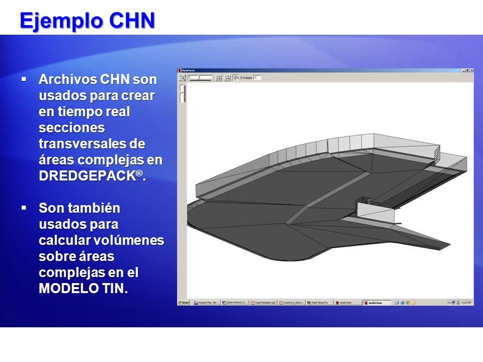 Ejemplo CHN Archivos CHN son usados para crear en tiempo real secciones transversales de áreas complejas en DREDGEPACK®.