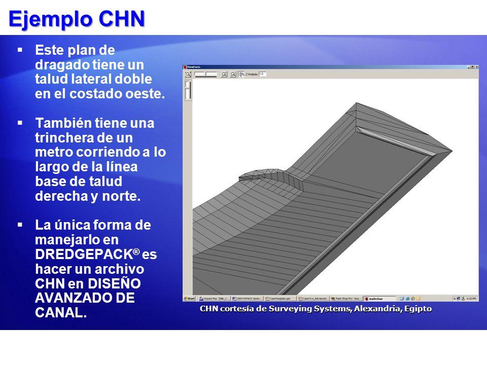 Ejemplo CHN Este plan de dragado tiene un talud lateral doble en el costado oeste.
