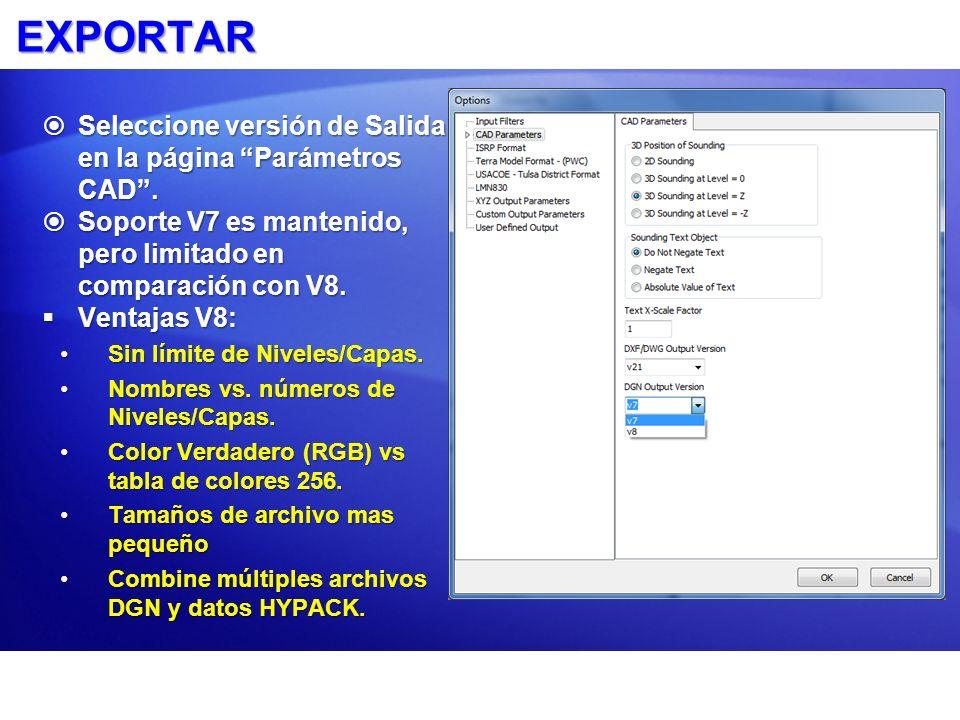 EXPORTAR Seleccione versión de Salida en la página Parámetros CAD .