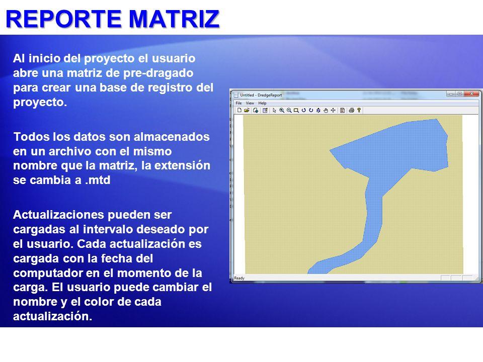 REPORTE MATRIZ Al inicio del proyecto el usuario abre una matriz de pre-dragado para crear una base de registro del proyecto.