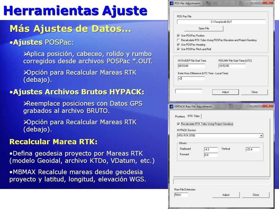 Herramientas Ajuste Más Ajustes de Datos… Ajustes POSPac: