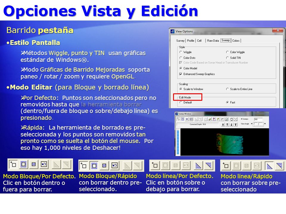 Opciones Vista y Edición