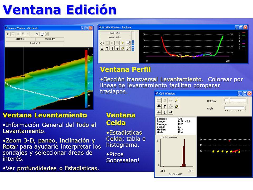 Ventana Edición Ventana Perfil Ventana Levantamiento Ventana Celda