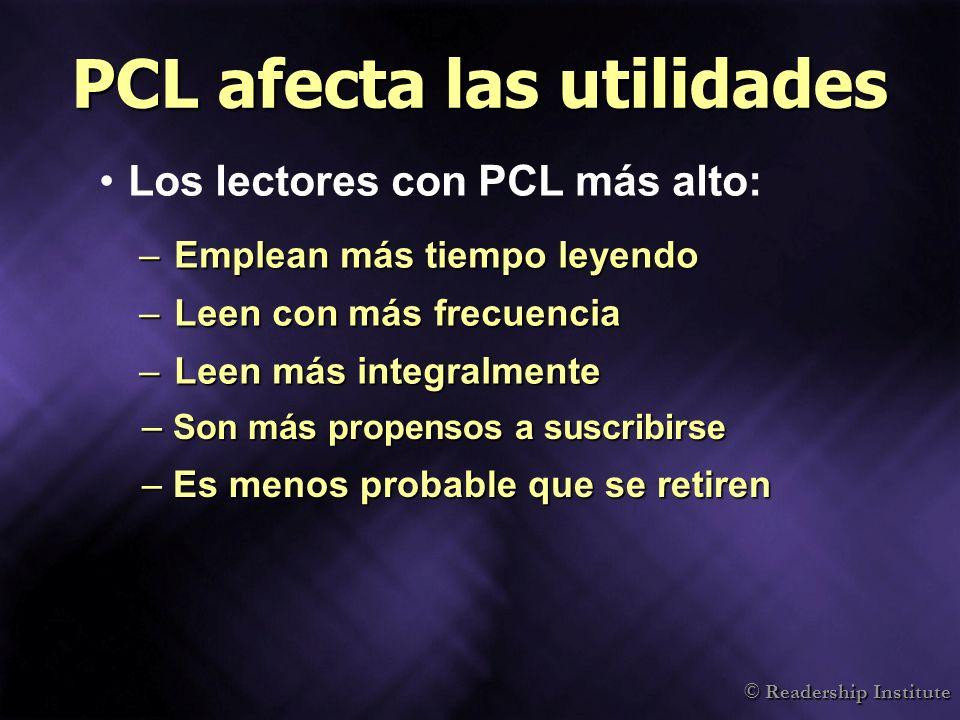 PCL afecta las utilidades