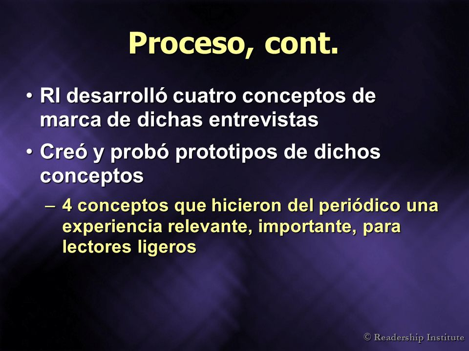 Proceso, cont. RI desarrolló cuatro conceptos de marca de dichas entrevistas. Creó y probó prototipos de dichos conceptos.