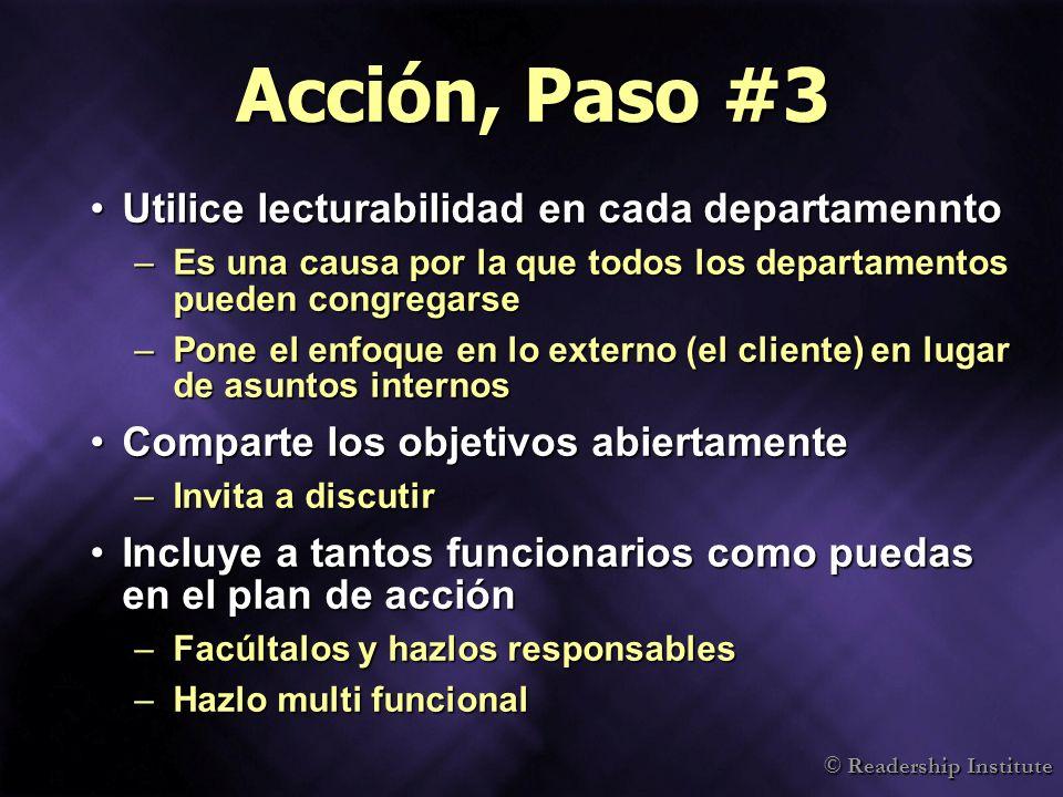 Acción, Paso #3 Utilice lecturabilidad en cada departamennto