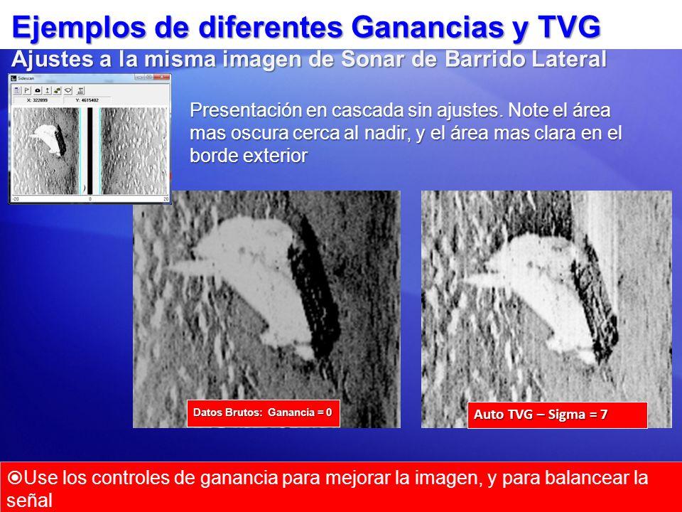 Ejemplos de diferentes Ganancias y TVG Ajustes a la misma imagen de Sonar de Barrido Lateral