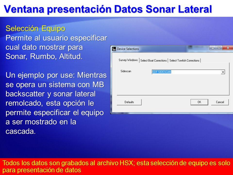 Ventana presentación Datos Sonar Lateral