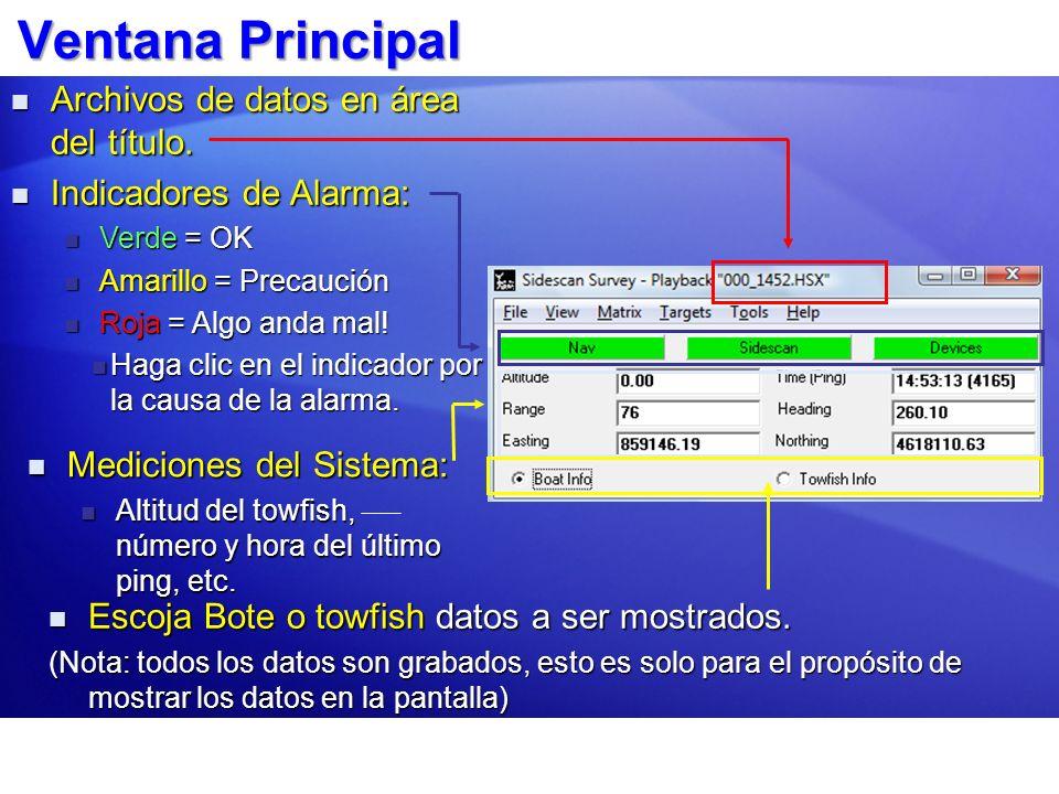 Ventana Principal Archivos de datos en área del título.