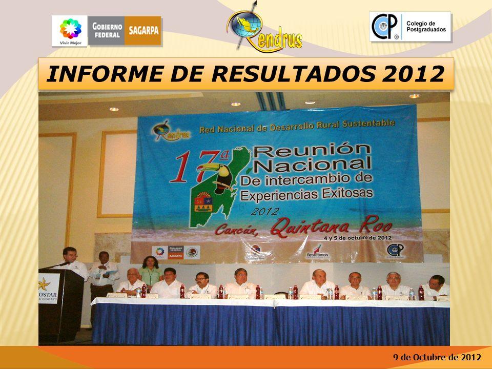 INFORME DE RESULTADOS 2012 9 de Octubre de 2012