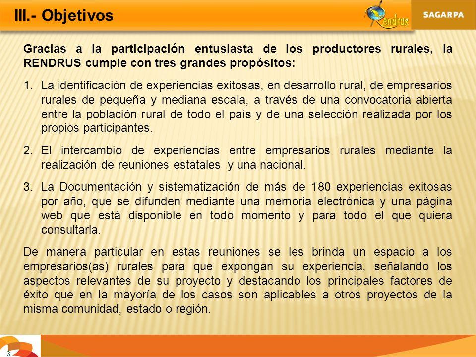 III.- Objetivos Gracias a la participación entusiasta de los productores rurales, la RENDRUS cumple con tres grandes propósitos: