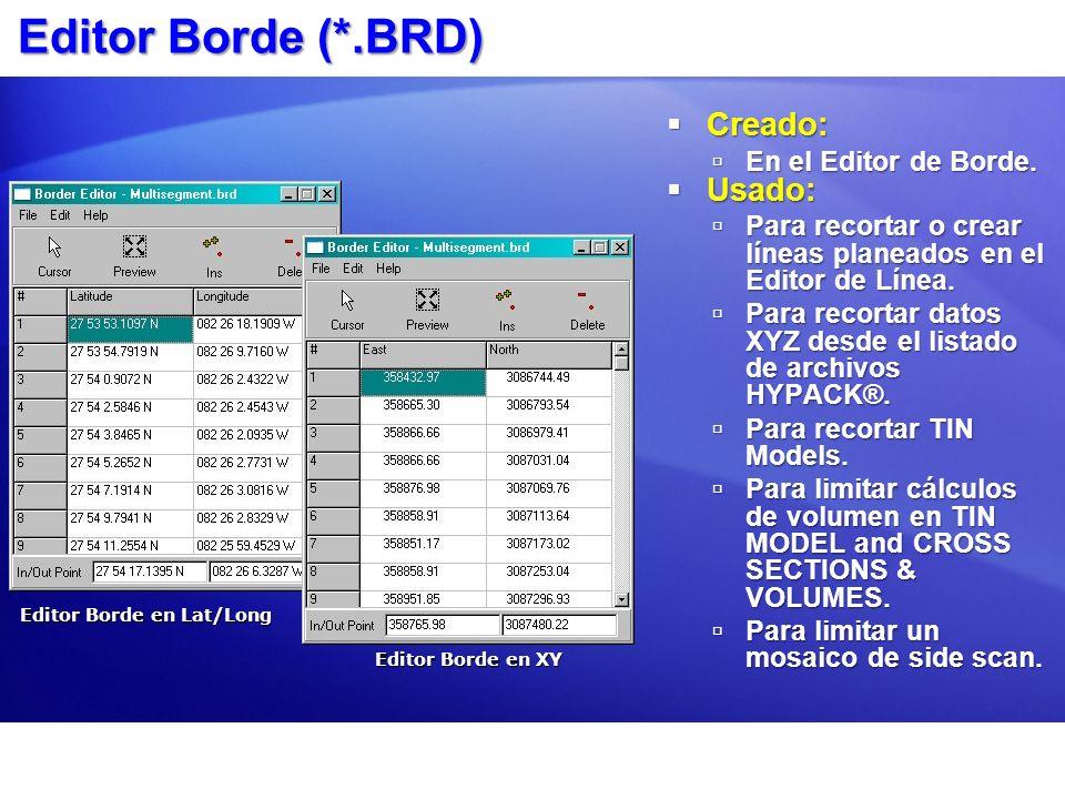 Editor Borde (*.BRD) Creado: Usado: En el Editor de Borde.