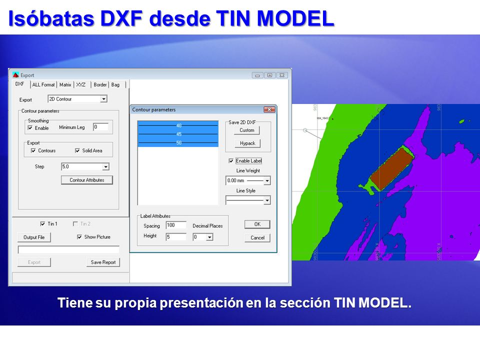 Isóbatas DXF desde TIN MODEL