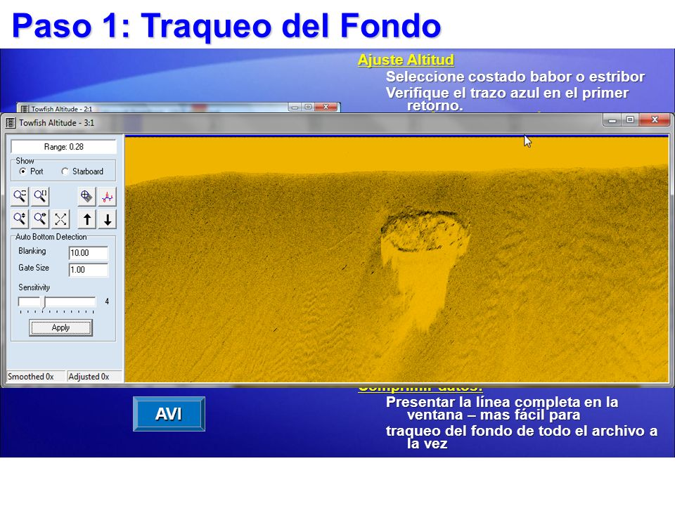 Ver altitud Towfish. La línea azul debe seguir de cerca el fondo