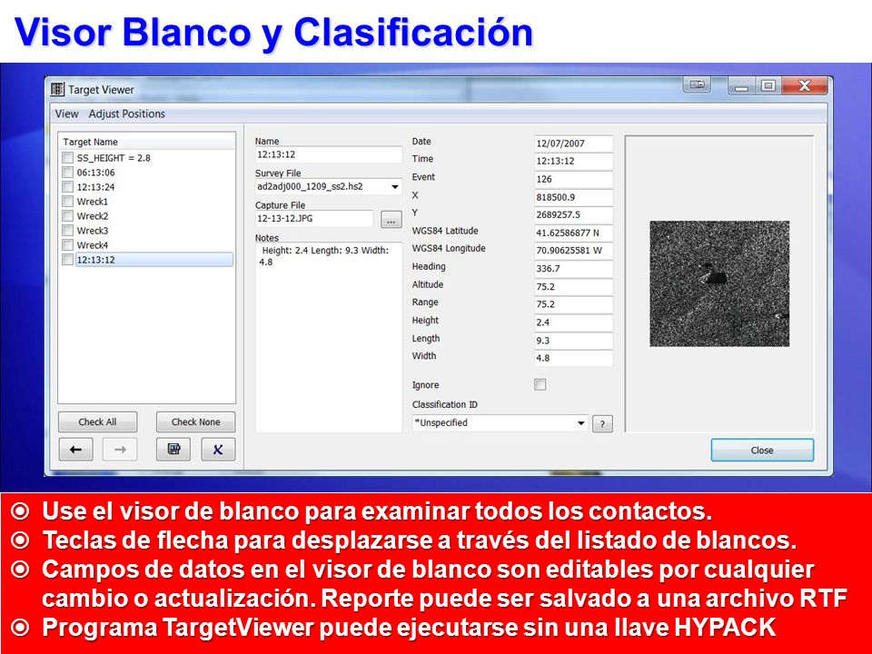 Visor Blanco y Clasificación
